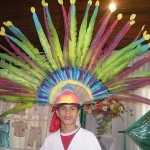 Artificial Blue-throated Macaw feather headdress worn by indigenous people in Bolivia